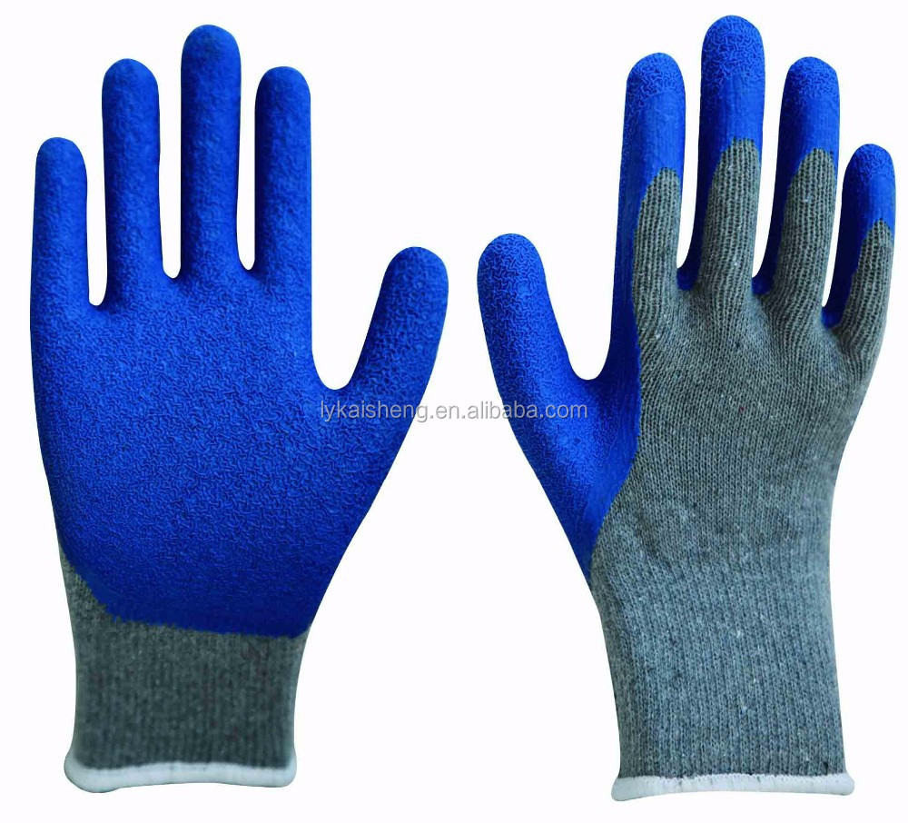 cheap work string knitted latex coated gloves CE EN 388