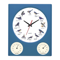 Birds Plastic Wall Clock With Humidity And Temperature Meters