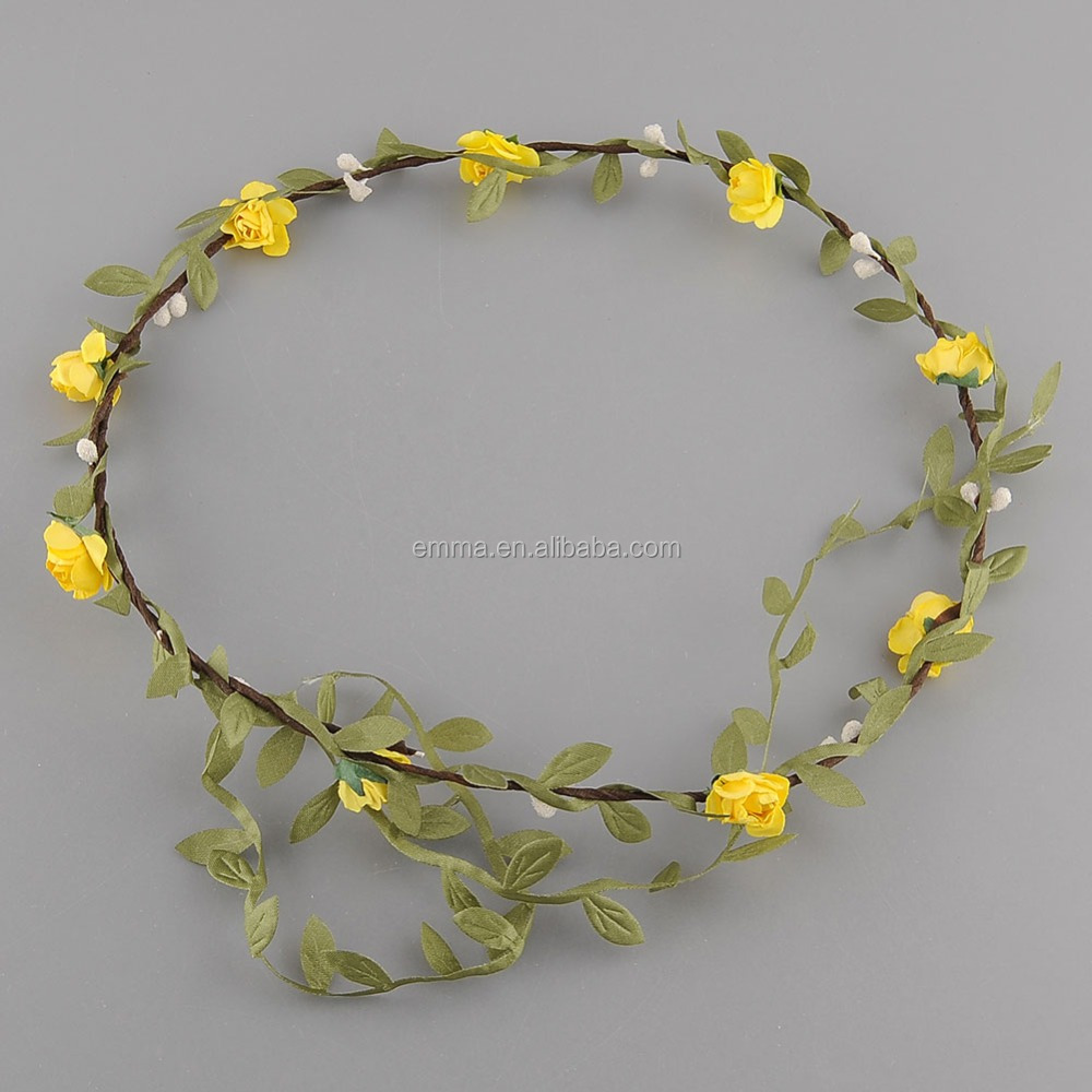 Prevailing Market Price Yellow Artificial Flower Headband Crown For