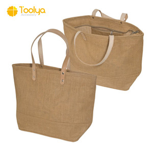 Competitive price hot sell wholesale jute tote bag with leather handles