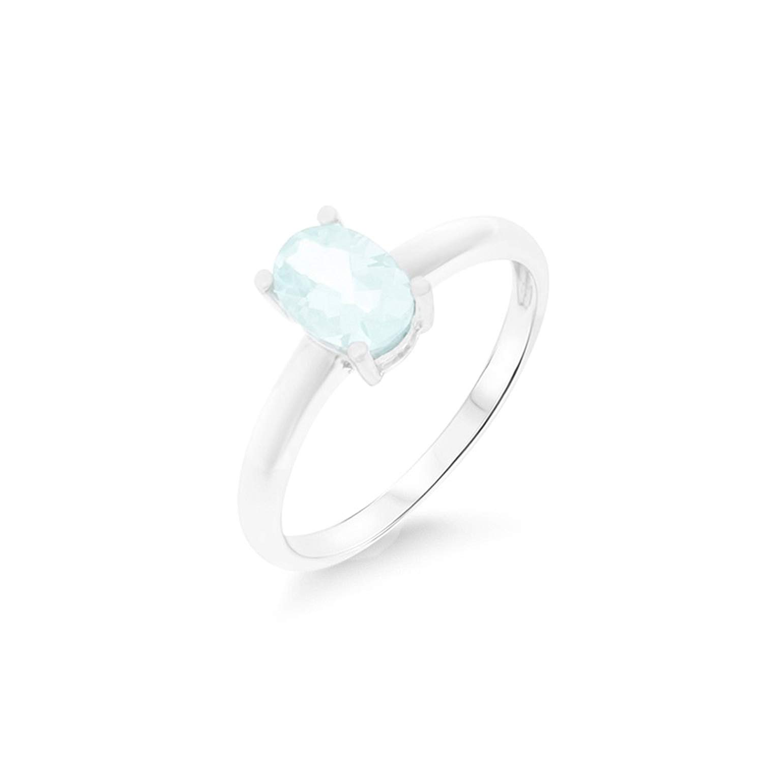 0.79CTW .925 Sterling Silver Genuine Natural Aquamarine Oval Shaped 5 x 7 mm. Solitaire Ring Size 6.25