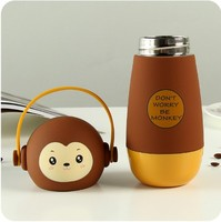 2018 Cute Monkey Shape 260ML 304 Stainless Steel Flask thermos Water Bottle with Handle for Children