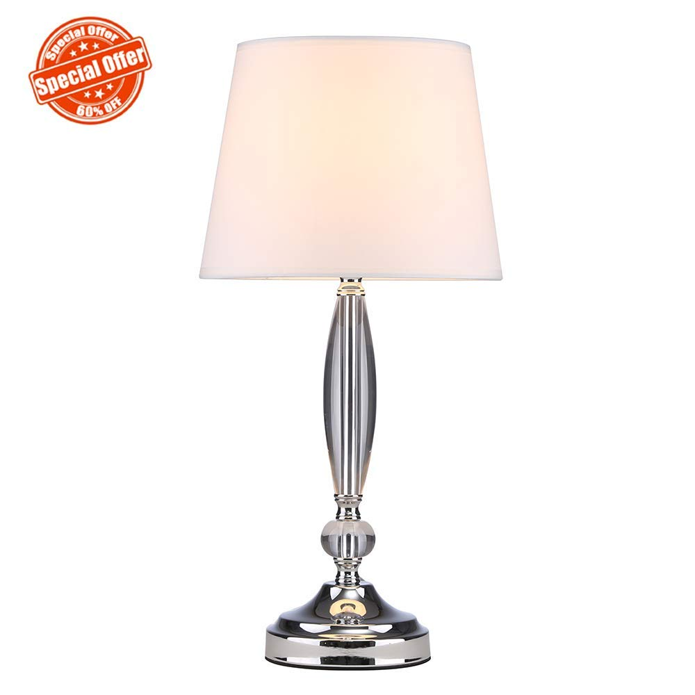 SOTTAE Modern Fashionable Clear Crystal Base Bedroom Living Room Bedside Table Lamp, Desk Lamp With White Fabric Shade