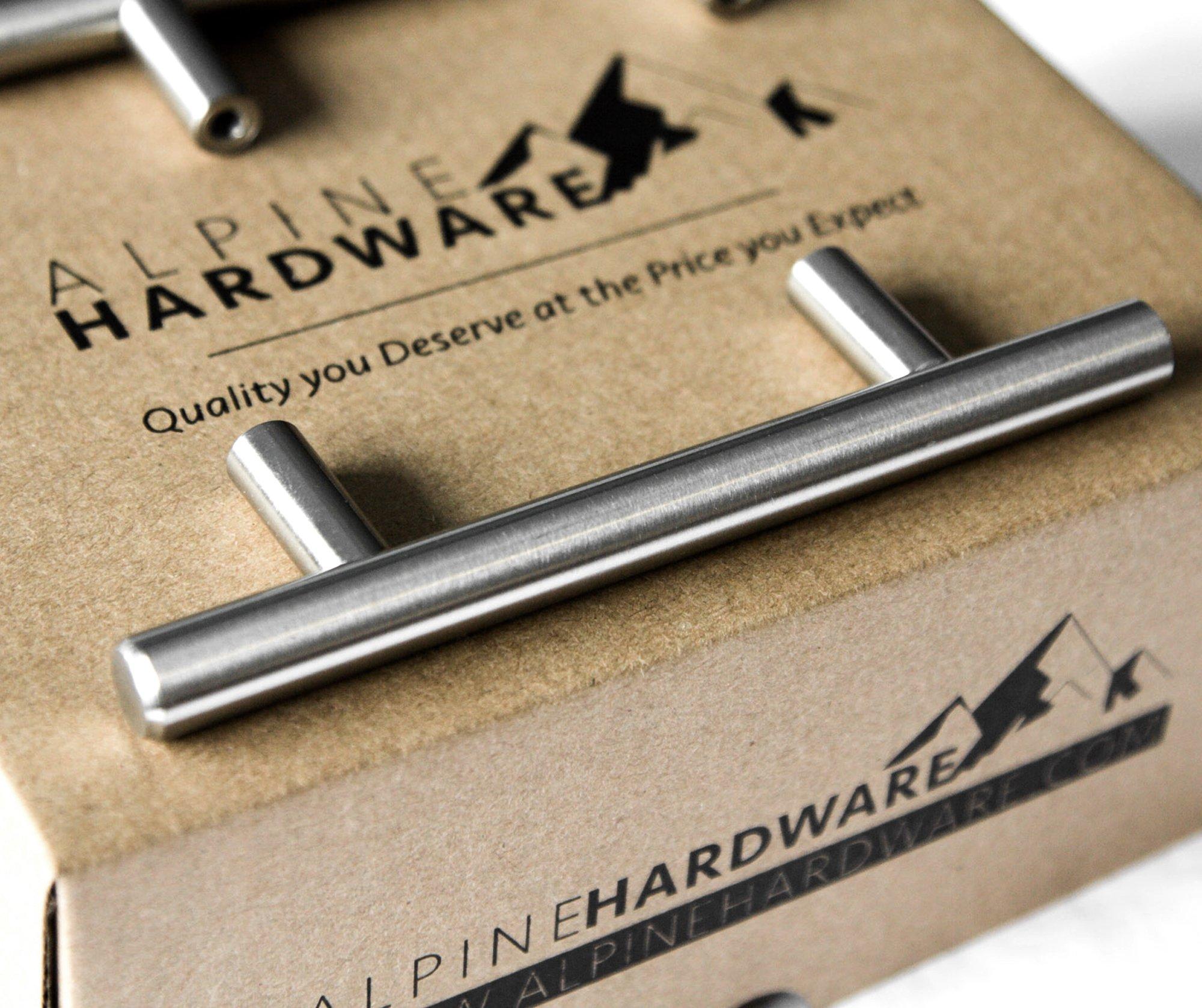 "10pc SOLID Stainless Steel, Bar Handle Pull: Fine-Brushed Satin Nickel Finish   3"" Hole Center   Kitchen Cabinet Hardware / Dresser Drawer Handles By: Alpine Hardware"