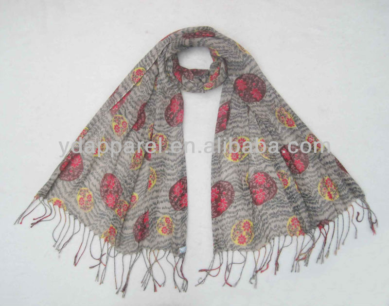 170*60cmパターンhijab、ビスコーススカーフ、ショール(SCF121110_1937)-マフラー、帽子、手袋セット問屋・仕入れ・卸・卸売り