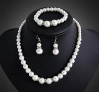 3pcs/set Jewelry Set Pearl Drop Earrings Bracelet And Necklace Set