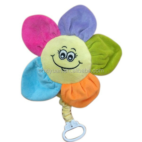 Custom soft smiling cuddly flower plush toy with musical pull string