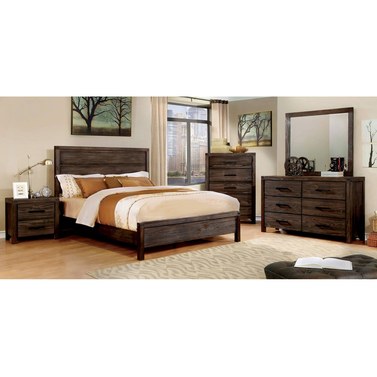 5-Drawer Chest, Dark Grey, Wood Grain Drawer Panels, Bundle with Ebook for Home Furnitures