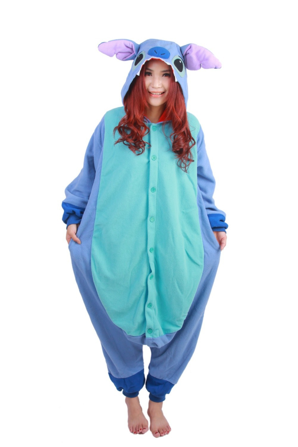 Get Quotations · Blue Stitch Pajamas Adult Onesie Animal Rompers Womens  Jumpsuit Cartoon Cosplay Costumes Pyjama Sleepsuit d7e66063d