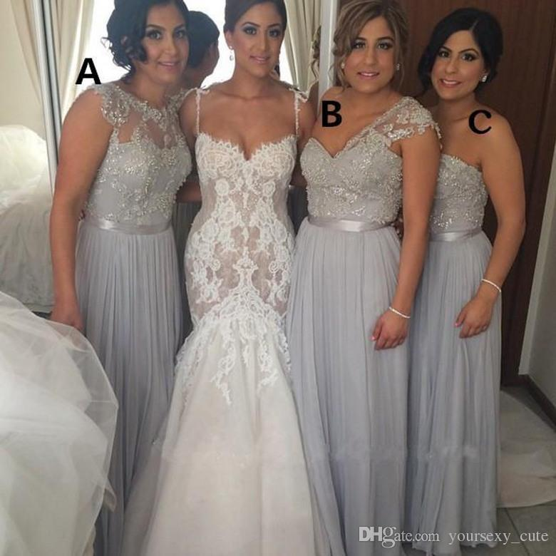 Silver Wedding Gowns: Hot 2015 Silver Chiffon Long Bridesmaid Dresses Cheap A