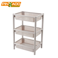 Wholesale Household Rice White 3 Layer Shelf,Simple Style Plastic Storage Rack