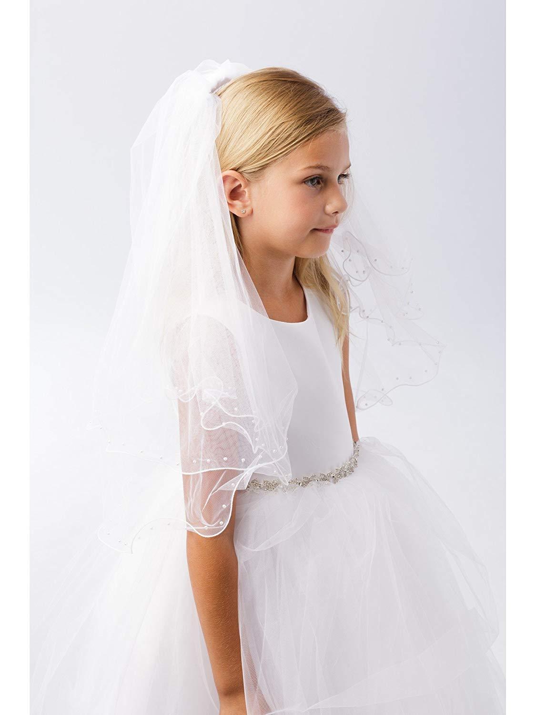Girls White Raw Tulle Edge Beading Double Layer Communion Flower Girl Veil