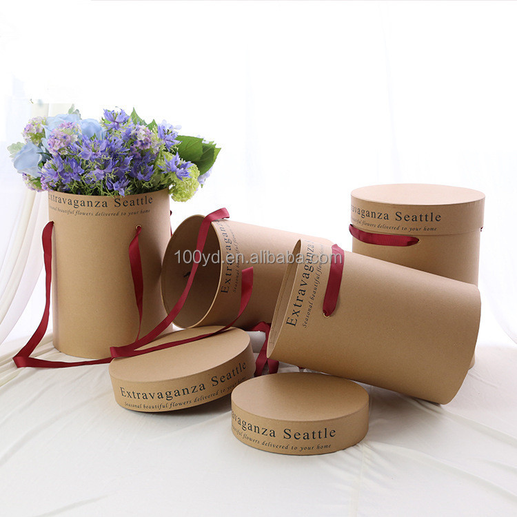 Wholesale Kraft Paper Card Cylinder Tubes Flowers Boxes with Handles