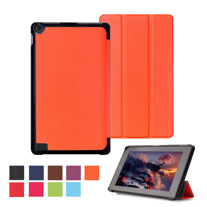"""leather case Stand cover for Amazon kindle Fire 7 (new 2015 version) 7"""" tablet smart cover for kindle 7 tablet skin+stylus"""