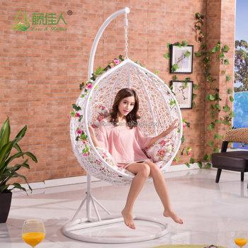 Round Egg Shape Outdoor Indoor Bedroom Wicker Rattan Hanging Swing Chair