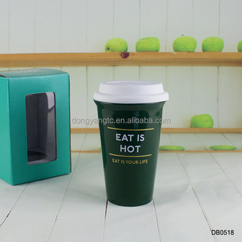 13oz 375ml mug silicone lid green glaze logo decal western coffee to go cup ceramic take away tumbler double wall isolate mugs