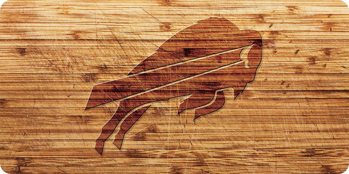 Buffalo Bills Woodgrain Design Deluxe Laser Cut Acrylic Inlaid License Plate Tag Football