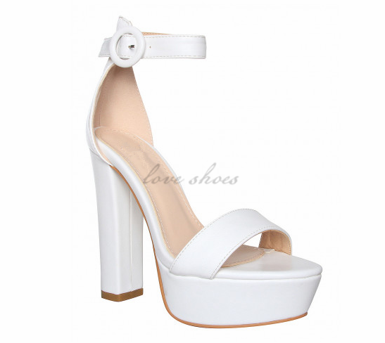 Beautiful Girls Sandals White Platform Block Heels high heel sandal 2017