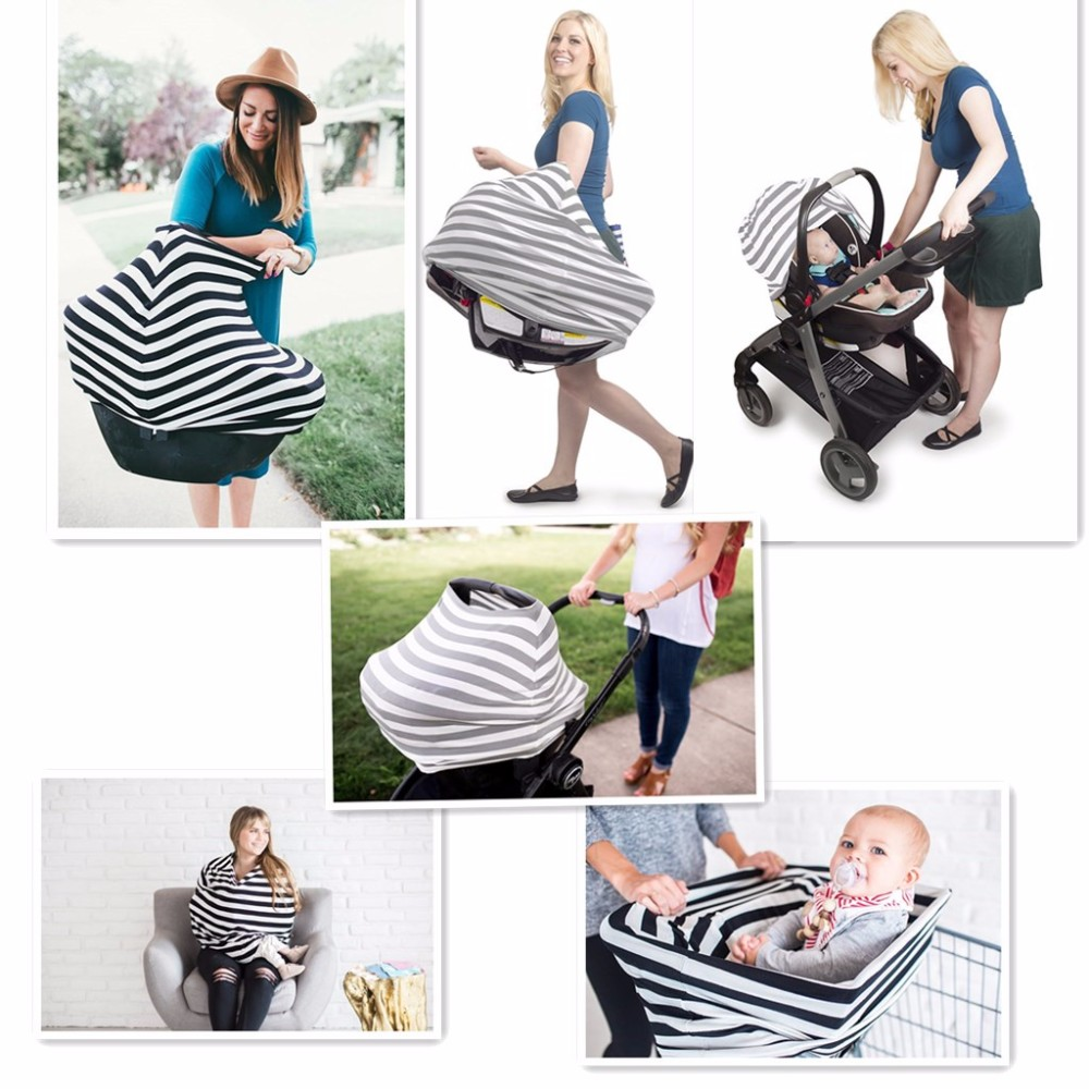 Soft, Breathable Stretchy Material Stroller Sunshade Breastfeeding Cover Baby Car Seat Canopy