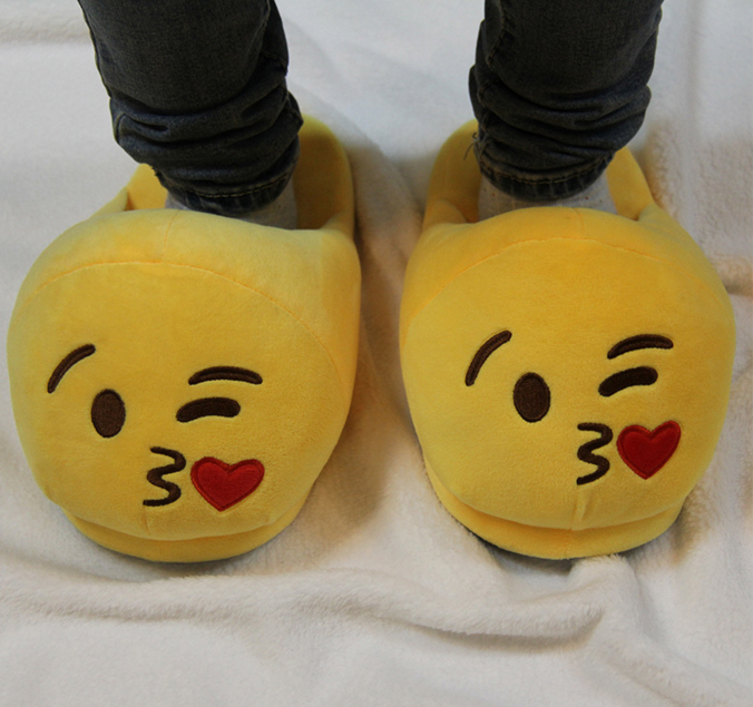 Stuffed plush emoji slippers