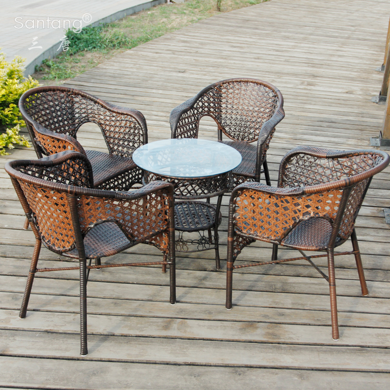 Bamboo Coffee Table Outdoor: Three Tang Balcony Leisure Outdoor Rattan Chairs Rattan