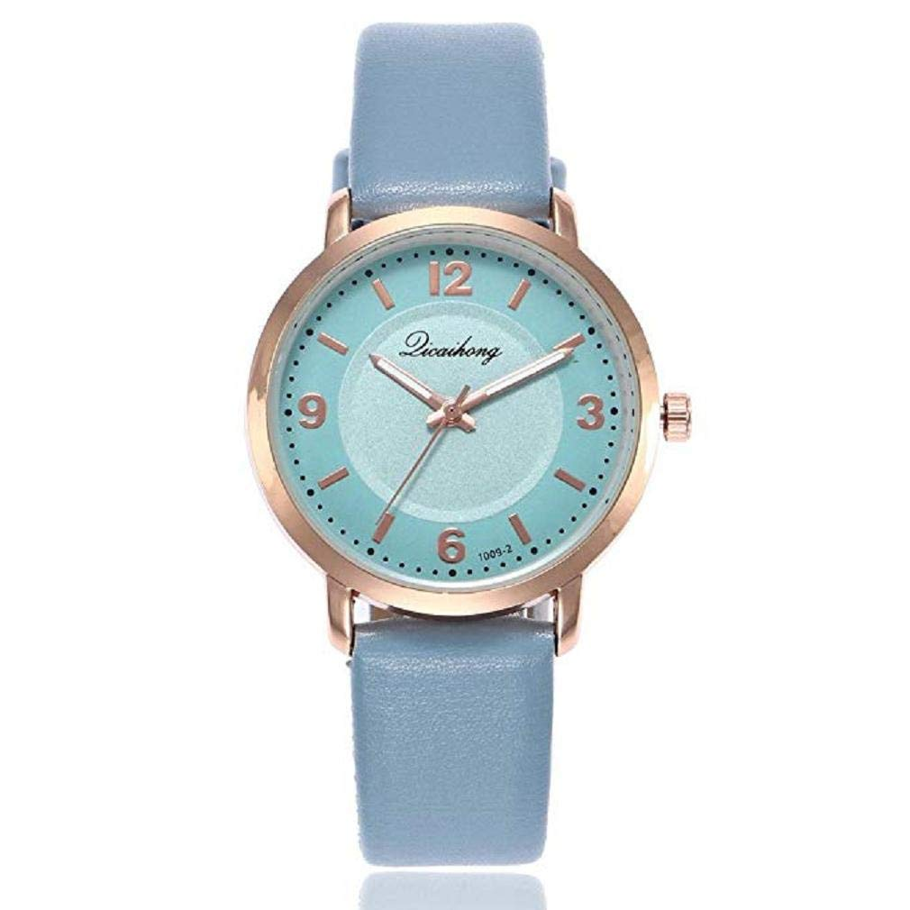 Womens Quartz Watches, Windoson Ladies Casual Two Color Leather Band Round Wrist Watch Teens Fashion Alloy Analog Watches, Women Watches Clearance (Blue)