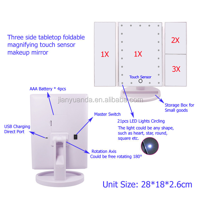 Door Shaped Cosmetic Mirror 3 Panelled Foldable Desktop