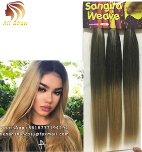 Ombre Hair Color Black To Brown Brazilian Straight Hair Heat Resistant Material 3 Bundles Pack Weave Hair Weft