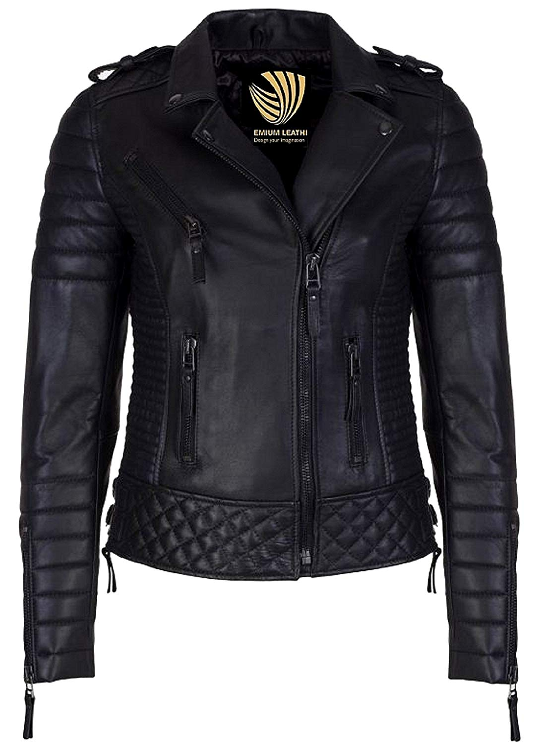Leather Skin Design Women Pure 100% Lambskin Leather Solid Biker Leather Jacket