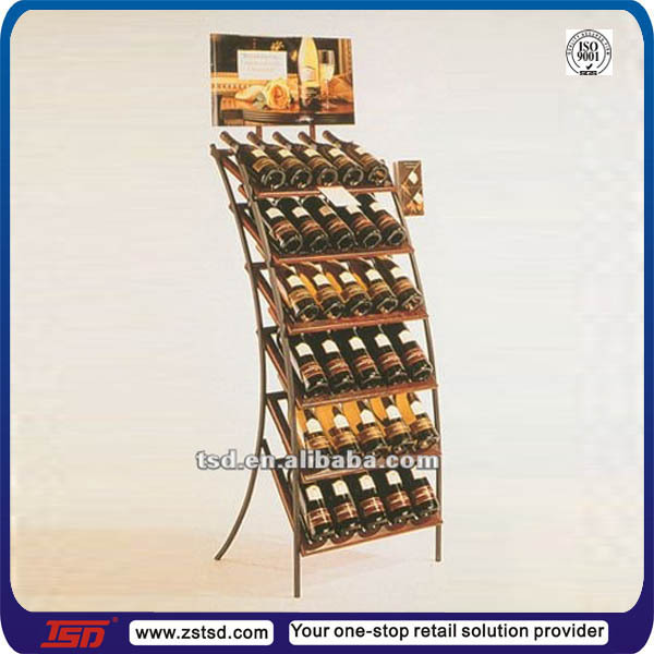 Tsd m624 custom retail store metal display stand for Wine shop decoration