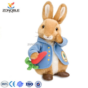 Custom Peter Rabbit plush stuffed toys wholesale cute soft plush toys bunny with carrot