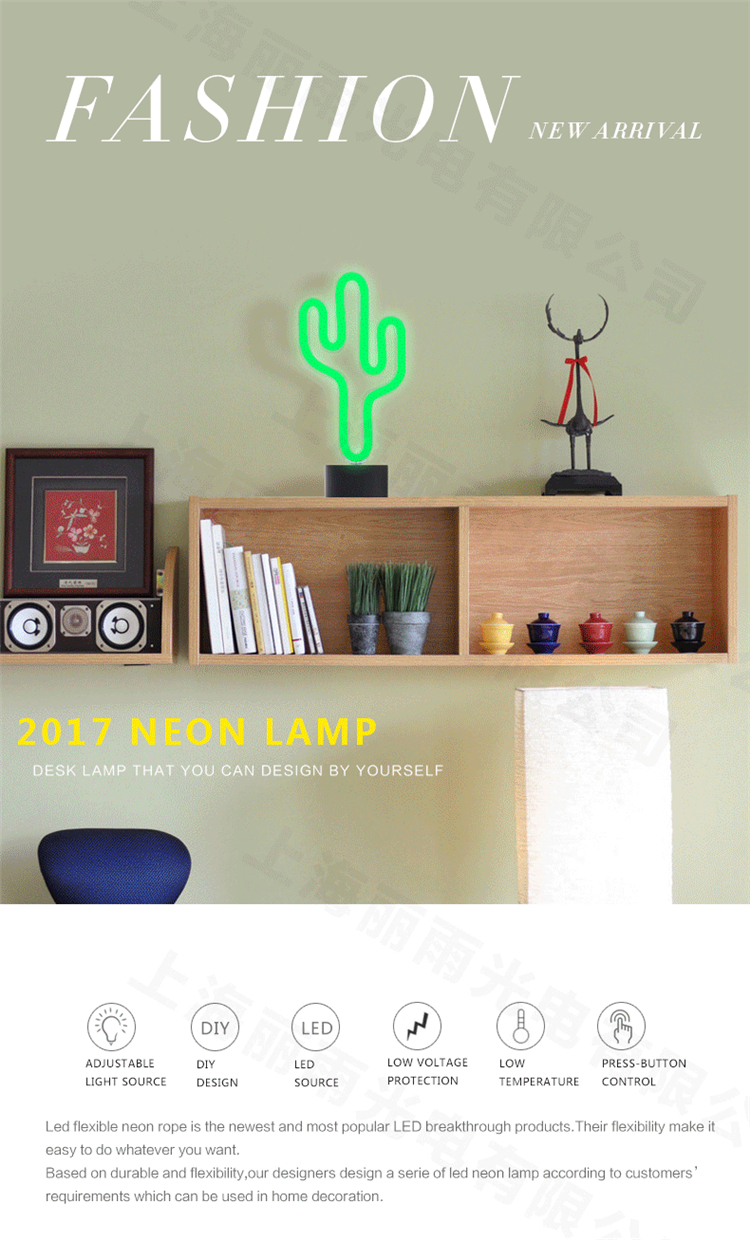 china factory direct fashion home desk cactus neon light
