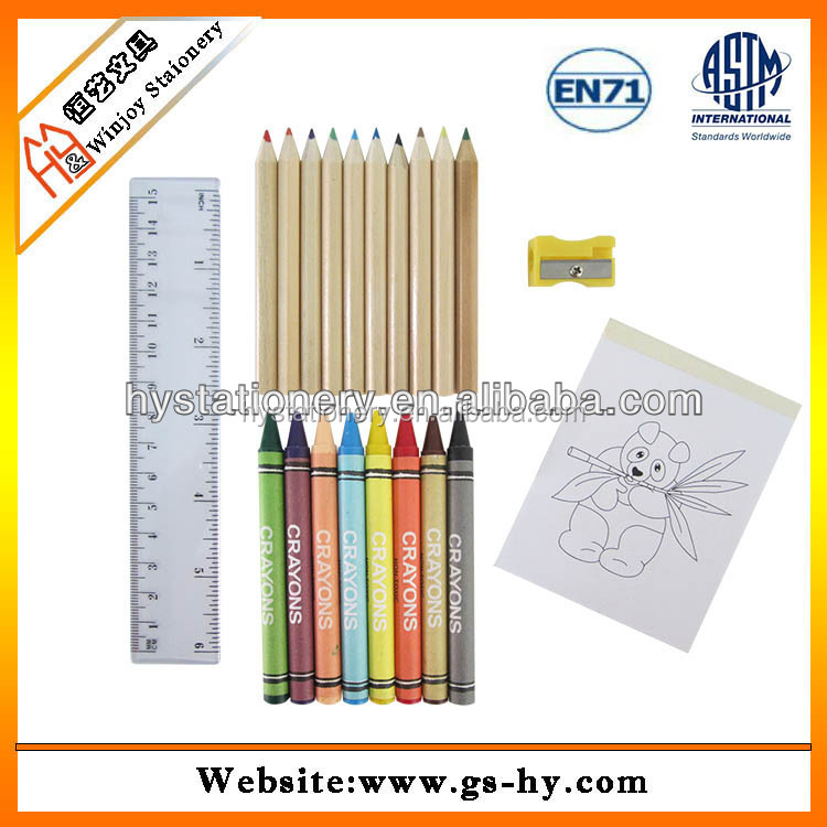 A4 colorful custom coloring book printing, colour books for children with oil paint crayon set