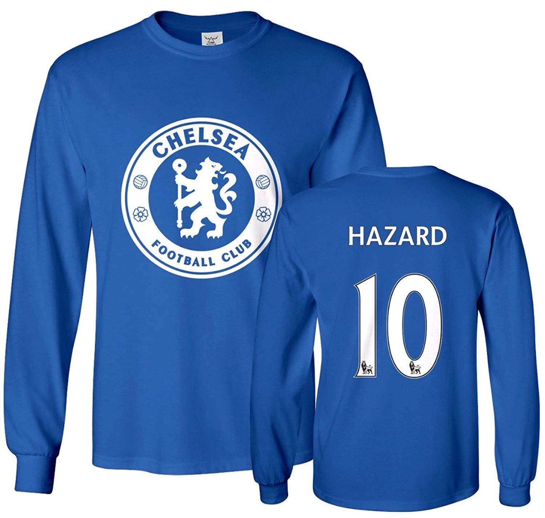 843fae94e79 Get Quotations · Tcamp Chelsea Shirt Eden Hazard #10 Jersey Men's Long  Sleeve T-shirt