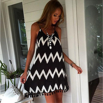 291a87205a45b Women s Suspender Strapless Black and White Wave Dresses Beach Skirts  Tassels Sexy Chiffon Dresses