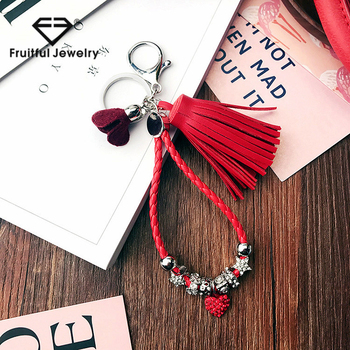 Diy Handmade Keychain Beautiful Bag Hanging Red Leather Cord Love Tassel  Flower Bell Keychain - Buy New Key Chains,Metal Keychain,Unique Keychains