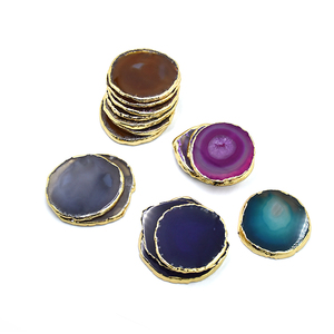 new products crystal agate slices different sizes stone agate coaster with golden rim