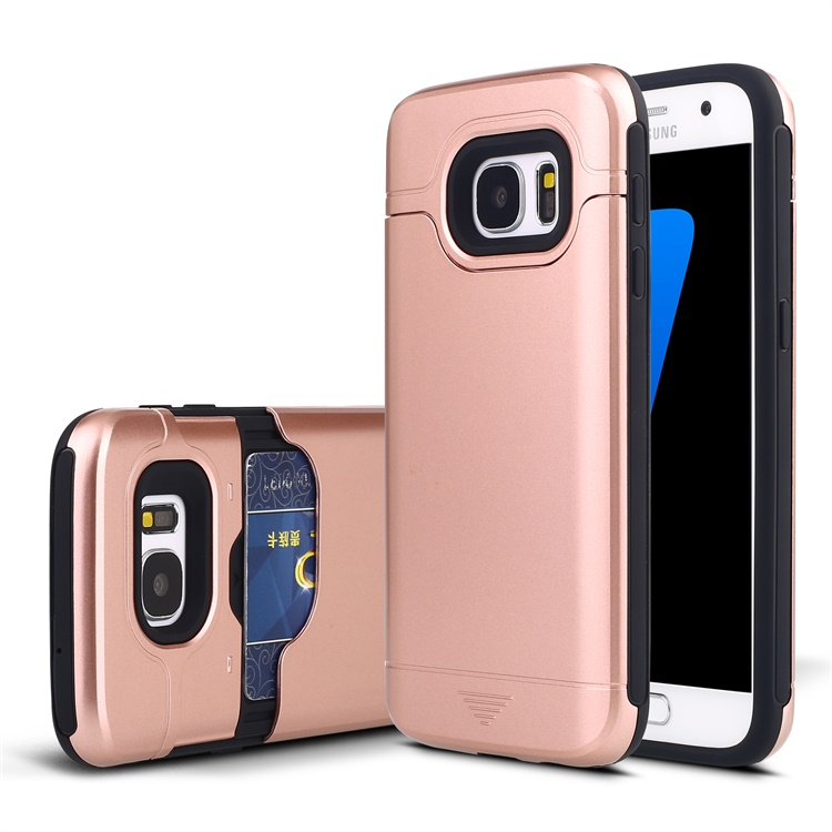 Fashionable Slider Card Slot Cell Phone Case/Cover for Samsung Galaxy S7 Mobile Phone