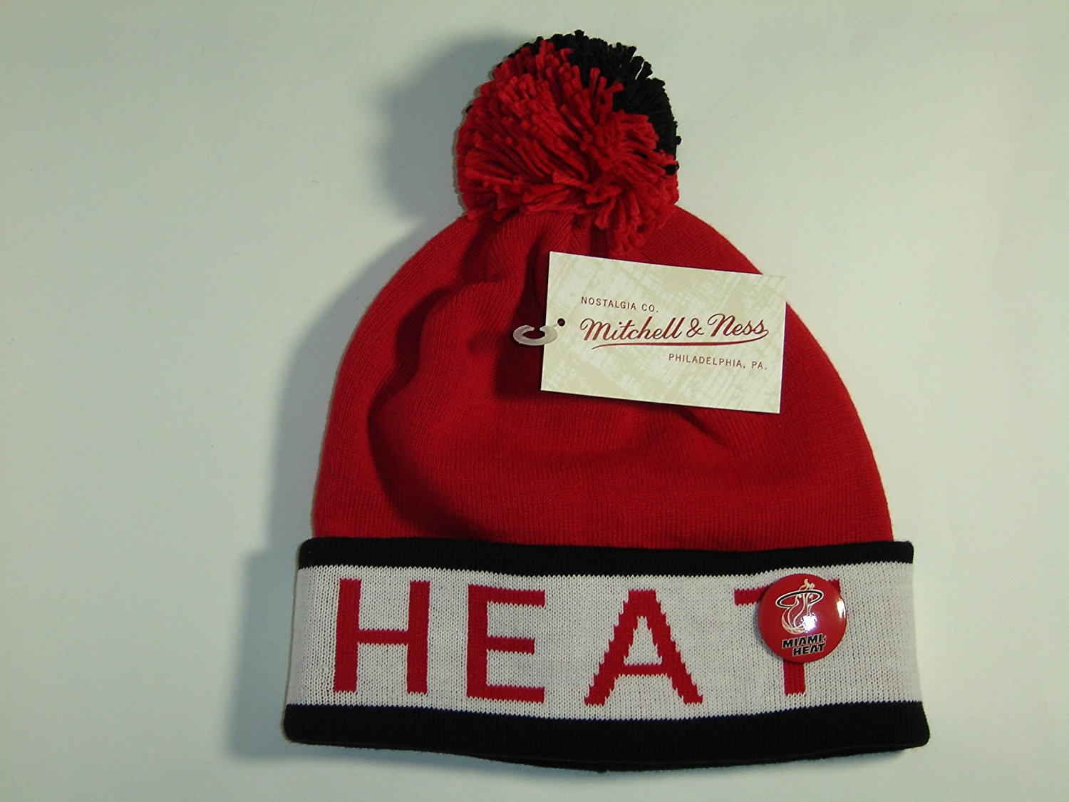 d7fae429caed2 Get Quotations · Mitchell and Ness NBA Miami Heat 2 ToneCuffed Knit Pom  Beanie Cap with Pin