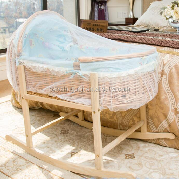 Eco-friendly handmadeNewborn moroccan moses basket Baby Moses basket with rocking stand wicker Baby Pod basket
