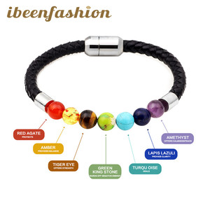 2017 Newest 7 Chakra Stone Energy Charm Bracelet Cowhide Leather Magnetic Buckle Bracelet