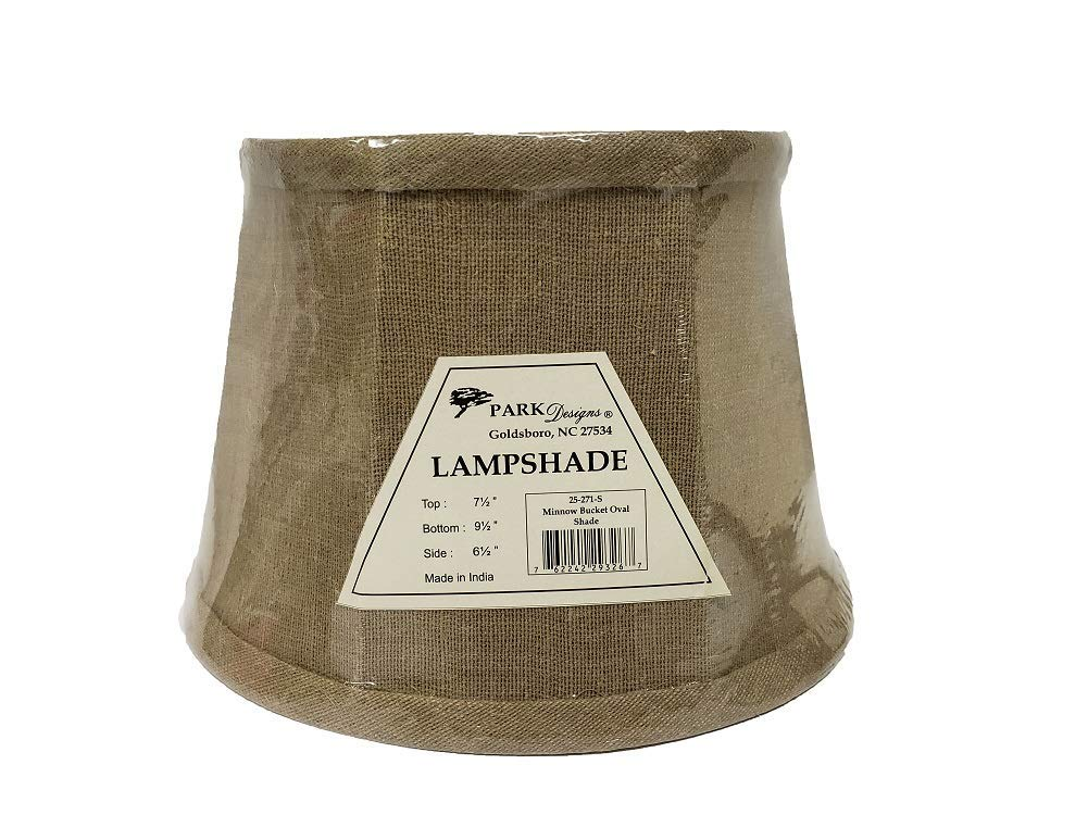 """Minnow Bucket Oval Replacement Lampshade Light tan Brown Burlap Lamp Shade 9.5""""L x 7.5""""W x 6.5""""H"""