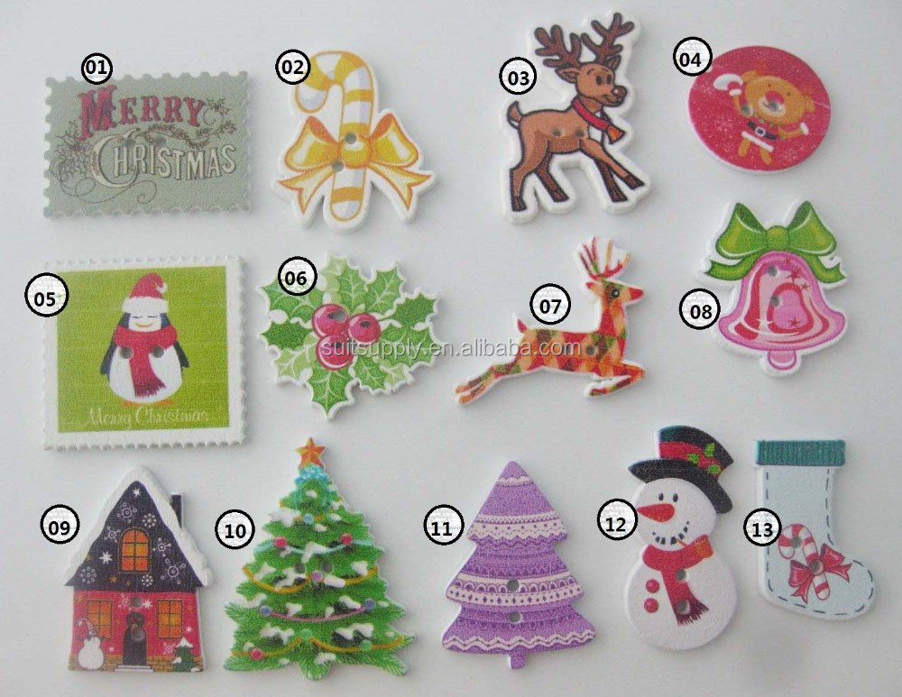 2016 Christmas buttons 2 holes flatback wooden button DIY craft decoration 2000pcs