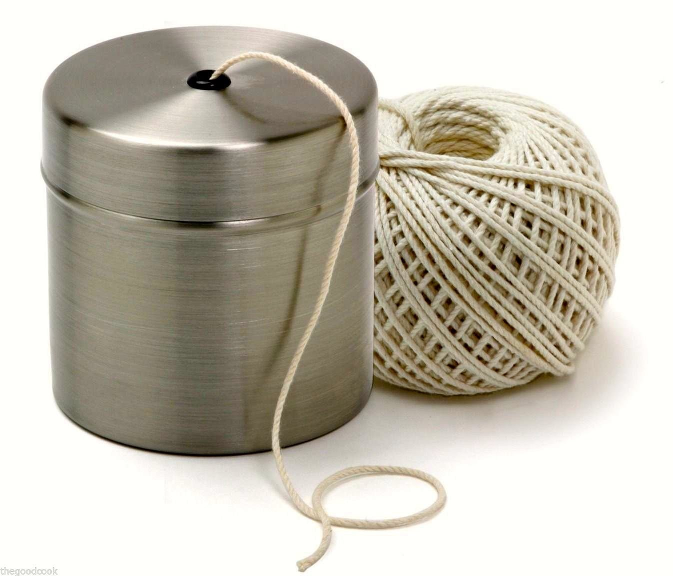 Chef Butcher Cooks Kitchen Natural Cotton Twine String w/Stainless Dispenser New