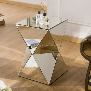 Popular Small Wood Bed Side Table Design Mirrored Side Table Corner Table  Wholesale