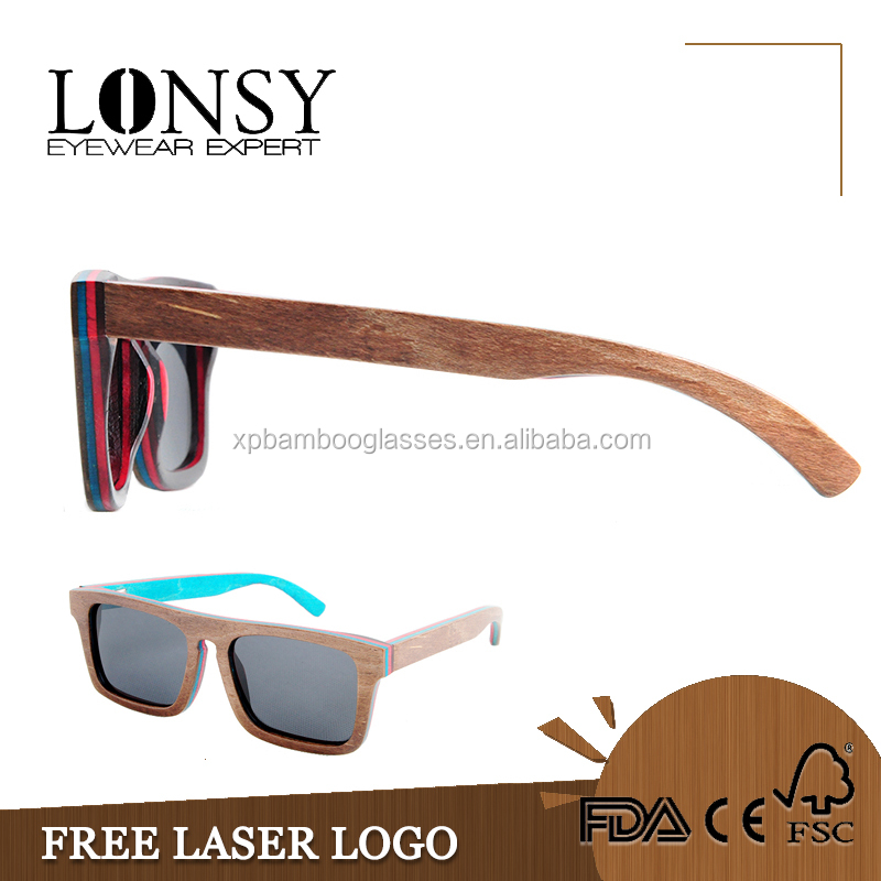 LS2001-C2 In stock engrave logo wood sunglases
