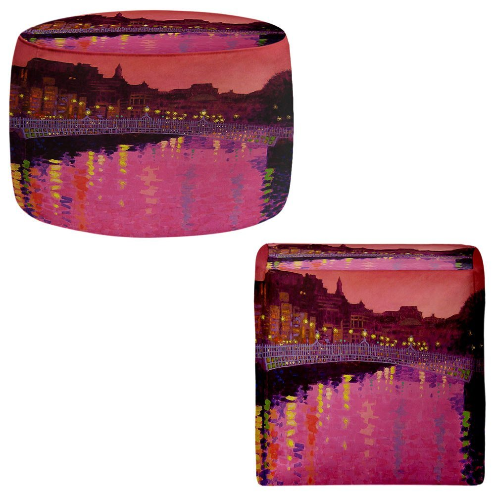 Foot Stools Poufs Chairs Round or Square from DiaNoche Designs by John Nolan - Twilight Ha Penny Bridge Dublin