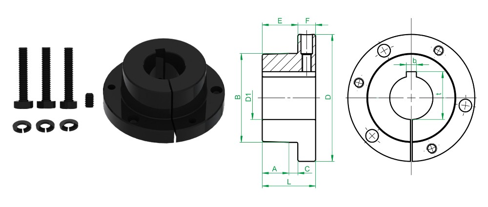 Plain carbon steel material QD Bushing F series bushings