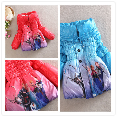 2014 female child winter frozen wadded jacket coats thickening design long wadded jacket High quality girl