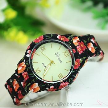 2ad92ccef94 Flor Floral GENEBRA Assistir Senhoras Emborrachado Revestido Ligação Rodada  relógio de Pulso de Aço Inoxidável Moda